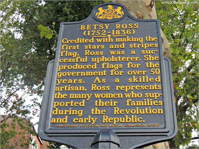 Placa en la Casa Museo de Betsy Ross en Filadelfia