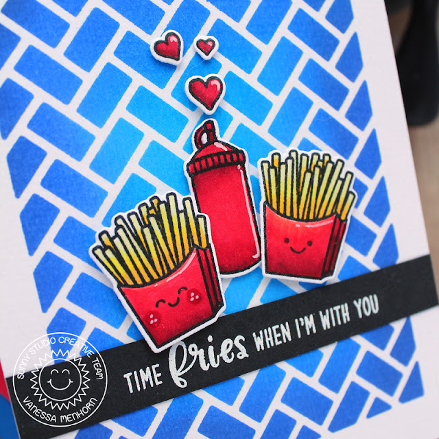 Sunny Studio Stamps: Frilly Frame Dies Fast Food Fun Breakfast Puns Punny Friendship Card by Vanessa Menhorn