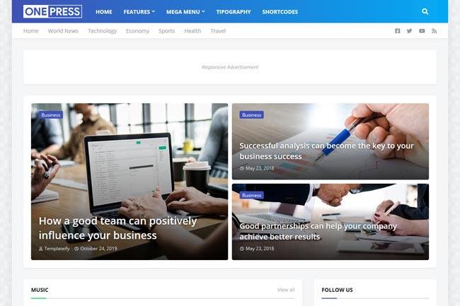 Template OnePress - Modelo de blog para revistas e notícias