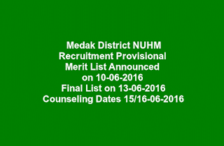 Medak District NUHM Recruitment Provisional Merit List Announced on 10-06-2016 Final List on 13-06-2016