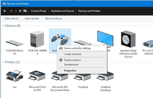 Klik kanan lalu Game controller settings