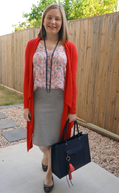 red waterfall cardigan with leaf print tank grey jersey pencil skirt spring business casual office outfit | awyafromblue