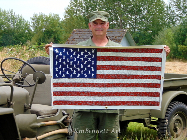 Fred holding my flag painting