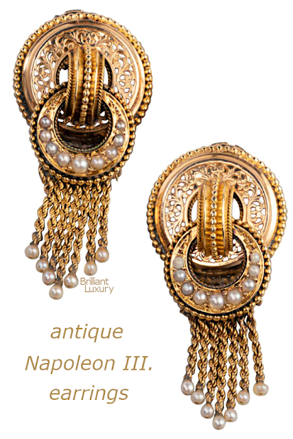 Brilliant Luxury♦Gold and Pearls Antique Napoleon III Earrings