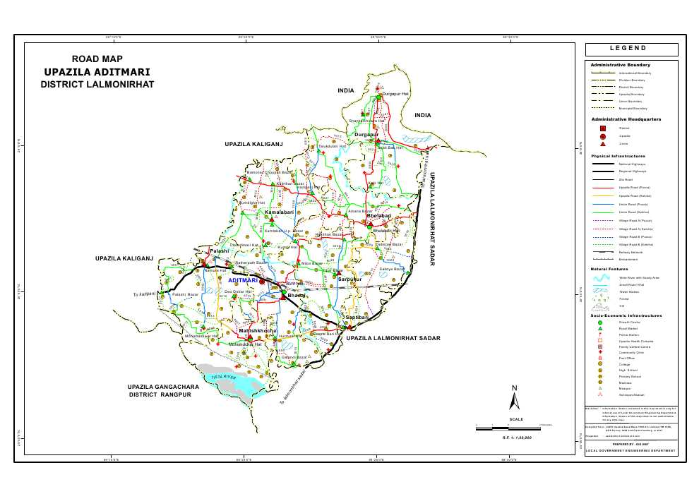 Aditmari Upazila Road Map Lalmonirhat District Bangladesh