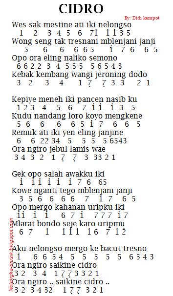 Not Angka Pianika Lagu Cidro - Didi Kempot