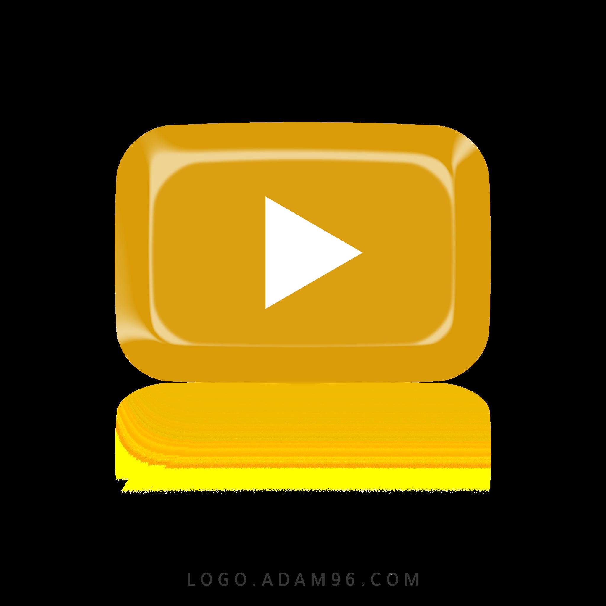 تحميل شعار يوتيوب الذهبي لوجو يوتيوب بصيغة شفافة Logo YouTube PNG