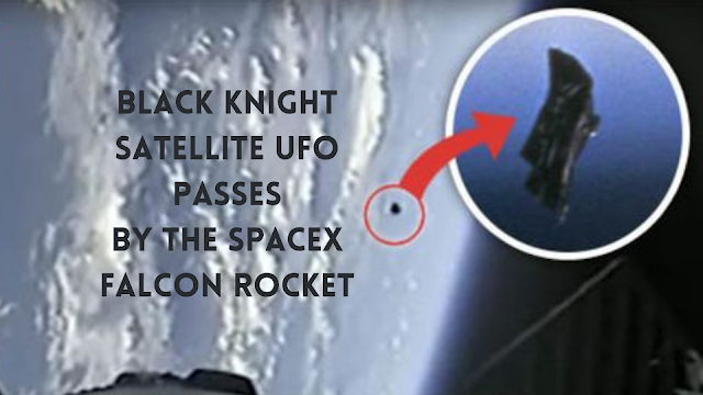 The BKS UFO passes by the SpaceX Falcon rocket.