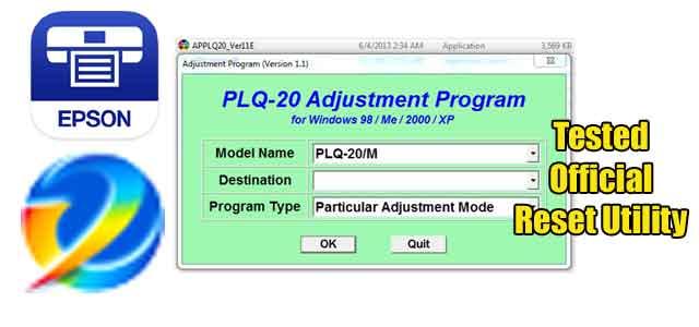 Epson PLQ-20 Adjustment program (Reset Utility)