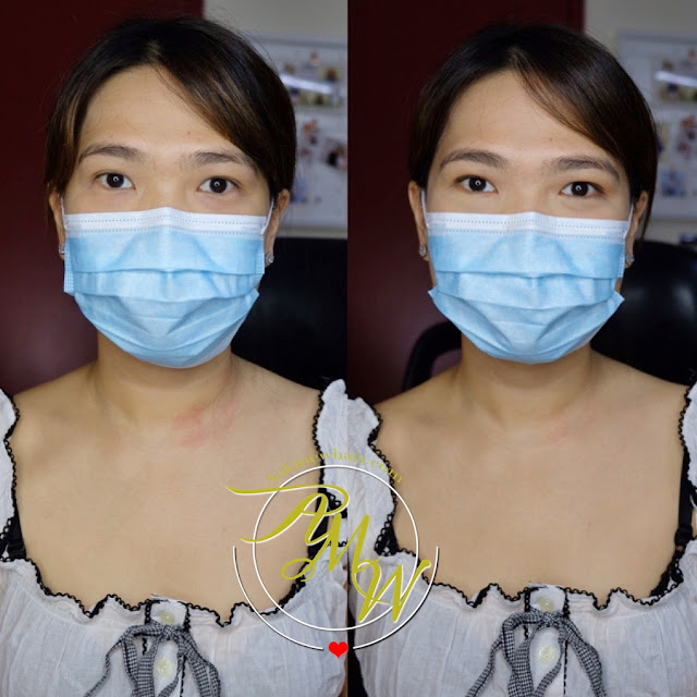 a before and after photo of Simple Makeup Look for Mask Wearers