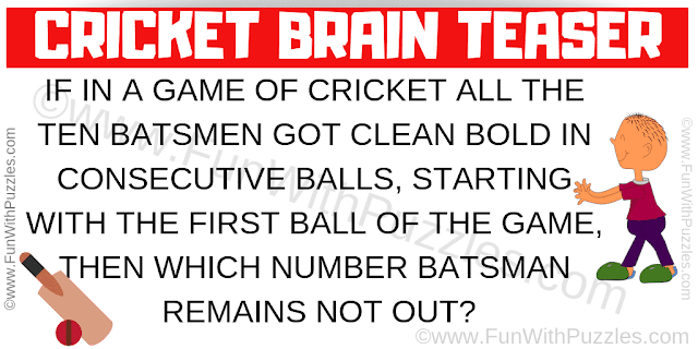 If in a game of Cricket all the ten batsmen got clean bold in consecutive balls, starting with the first ball of the game, then which number batsman remains not out?