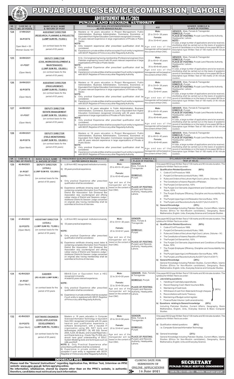 Latest Jobs in Punjab Public Service Commission PPSC  2021 - Apply online Ad No15
