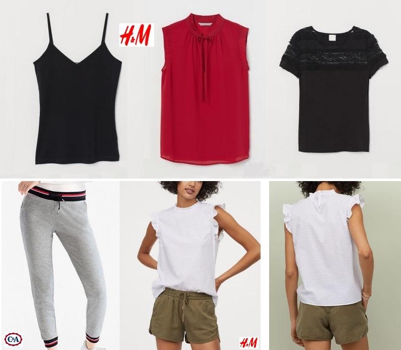 H&M czarny bawełniony top na ramiączkach