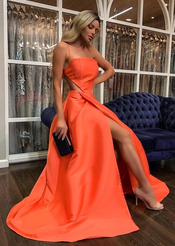 vestido de festa longo laranja