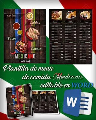 Plantilla de menú para restaurantes de comida Mexicana