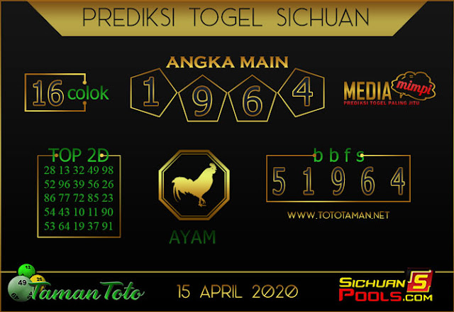 Prediksi Togel SICHUAN TAMAN TOTO 15 APRIL 2020