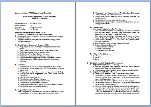 Contoh Rencana Pelaksanaan Kegiatan Ekstrakurikuler Pramuka