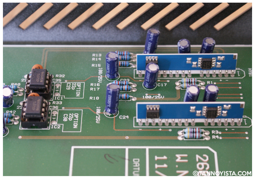 Inside the SPL Volume 2 showing the circuit board opamps