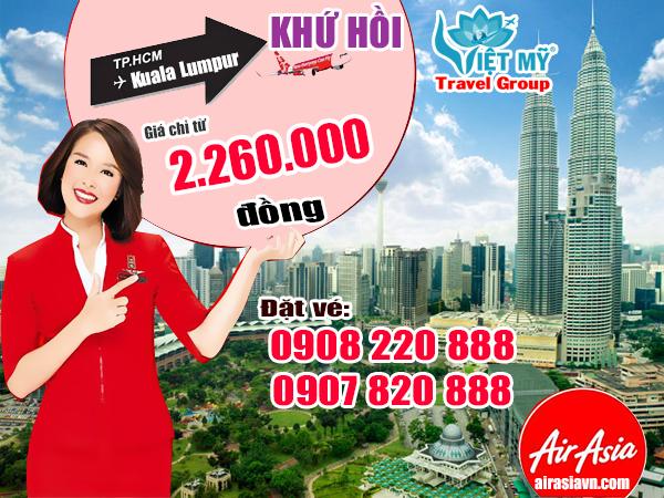 Hồ Chi Minh đi Kuala Lumpur tháng 11khứ hồi 2260.000 đồng hãng Air Asia