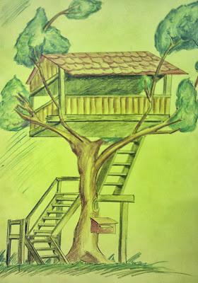A Tree House Sketch By Chetan Yadav