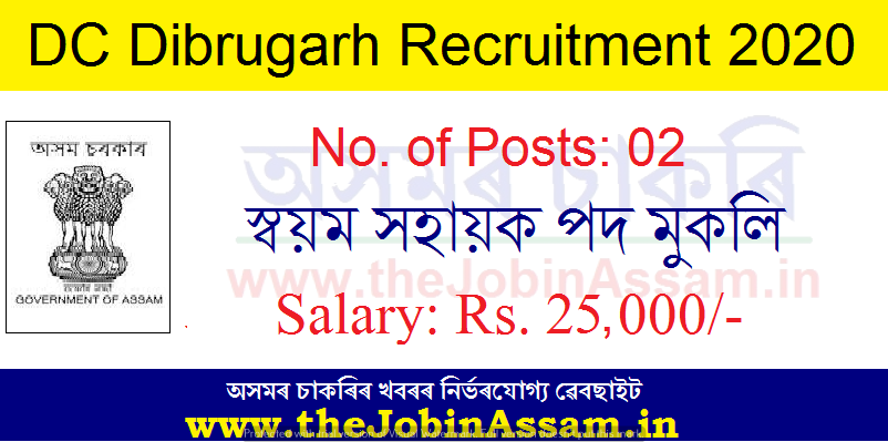 Deputy Commissioner, Dibrugarh Recruitment 2020