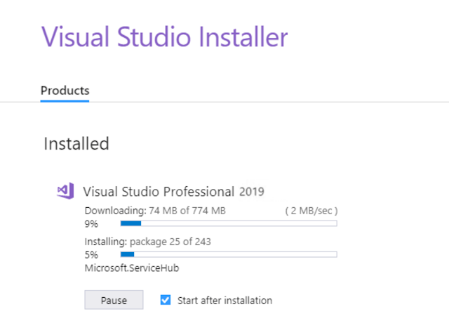 Visual Studio download and installation for C# on Windows 10