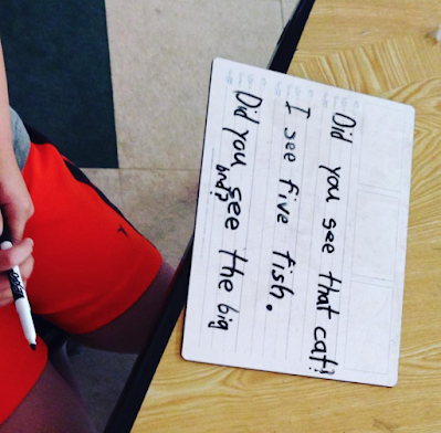 dictated writing on whiteboards in Kindergarten