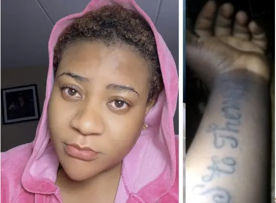 """""""Kobo, you won't get"""" – Nkechi Blessing slams fan who draws tattoo of her name (Pictures)"""