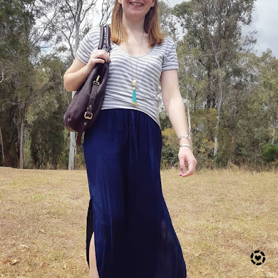 grey tee navy maxi skirt casual spring school run outfit | away from blue instagram