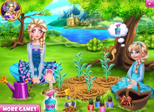 Elsa ve annesi bahçe oyunu