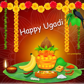 happy ugadi Image contains Kalasam Mango crow tamarind rock salt banana rock sugar lightening lamp, flower decorations .