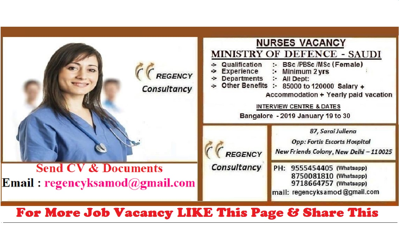 Nurses Vacancy for Ministry Of Defence -Saudi