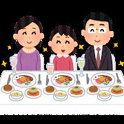 豪華な食事をする家族のイラスト