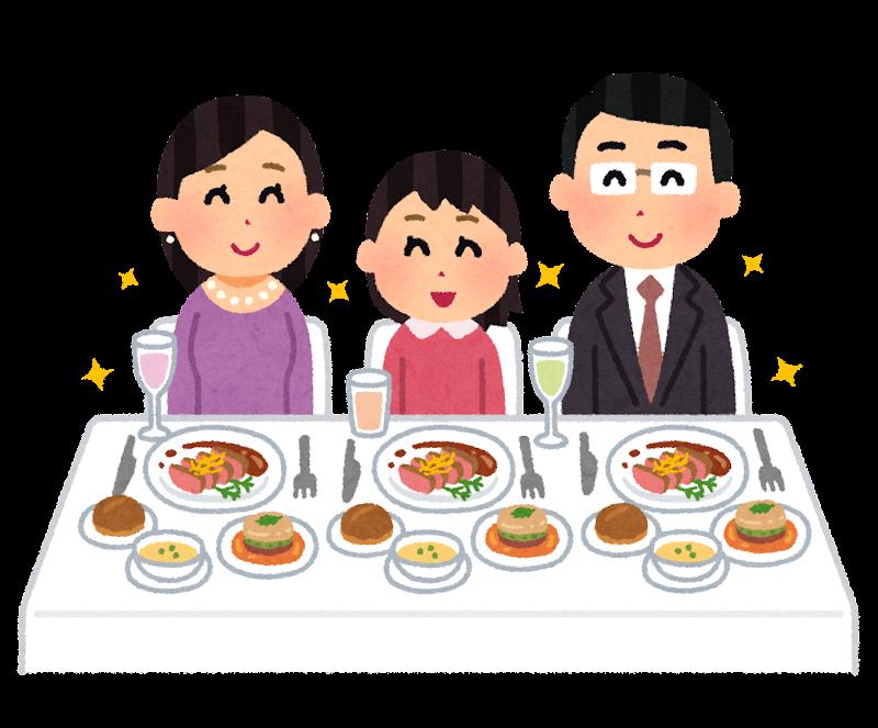 豪華な食事をする家族のイラスト かわいいフリー素材集 いらすとや
