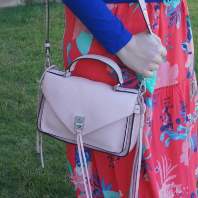 Floral maxi dress with Rebecca Minkoff small darren messenger bag in peony pink | awayfromtheblue