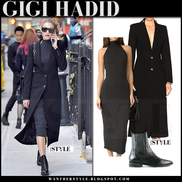 Gigi Hadid in black smythe coat, grey midi rib dress rachel pally lexine and black ankle boots freda salvador what she wore