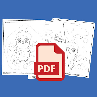 penguins activities for preschoolers fine motor skills tracing and coloring winter coloring pages for kids free coloring book pages to print .pdf