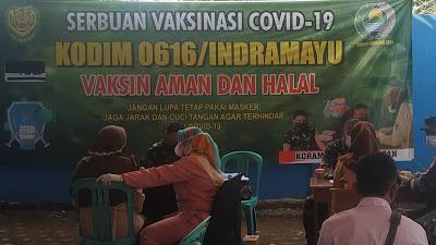 Dukung Pembelajaran Tatap Muka SMK Al-Huda, Kodim 0616 / Indramayu Gelar Sebuan Vaksin Covid-19