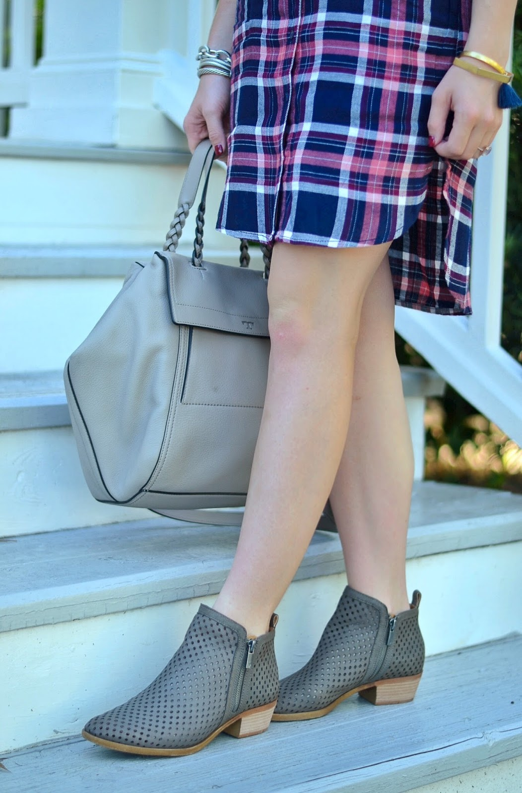 Pink & Navy Shirtdress // Coin Necklace // Tory Burch Half-Moon Satchel //  Perforated Booties (in grey here) // Tassel Bracelet // Wheaten Ring //  Yurman ...