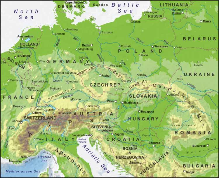 Cartina Geografica Europa Centrale.Mapa Di Europa Politico Regione Mappa Dell Europa Centrale Politico