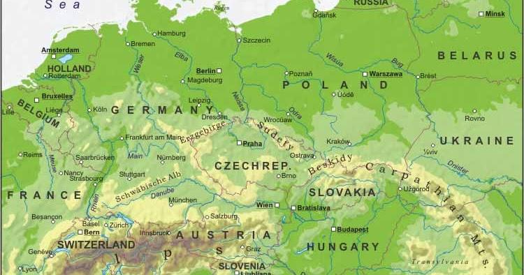 Europa Centrale Cartina Politica.Mapa Di Europa Politico Regione Mappa Dell Europa Centrale