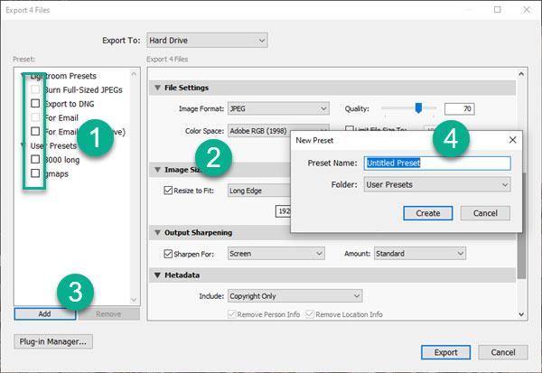 create preset in export dialogue