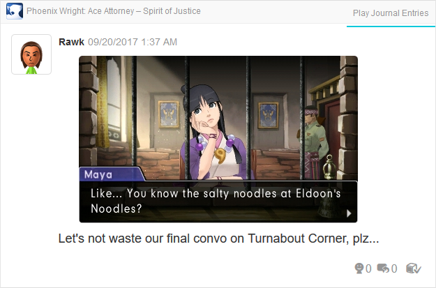 Phoenix Wright Ace Attorney Spirit of Justice Maya Fey salty noodles Eldoon's