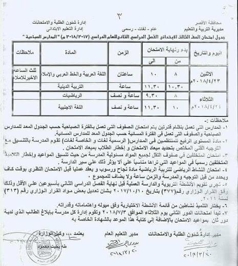 جدول امتحانات الصف الثالث الابتدائي 2018 الترم الثاني محافظة الأقصر