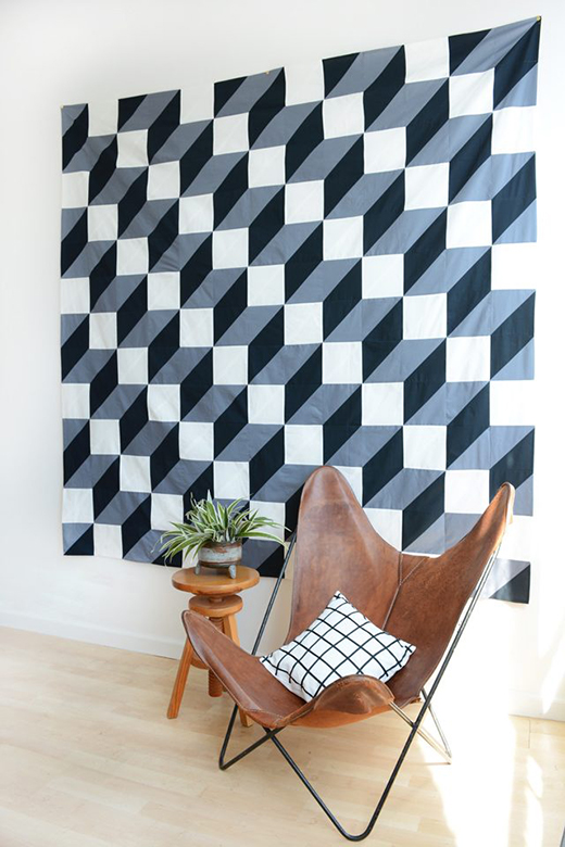 Modern Geometric Wall Quilt Designed by Jeran McConnel of Hunker