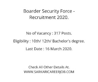 BSF Requirements 2020 |  317 Posts BSF New Recruitment 2020.