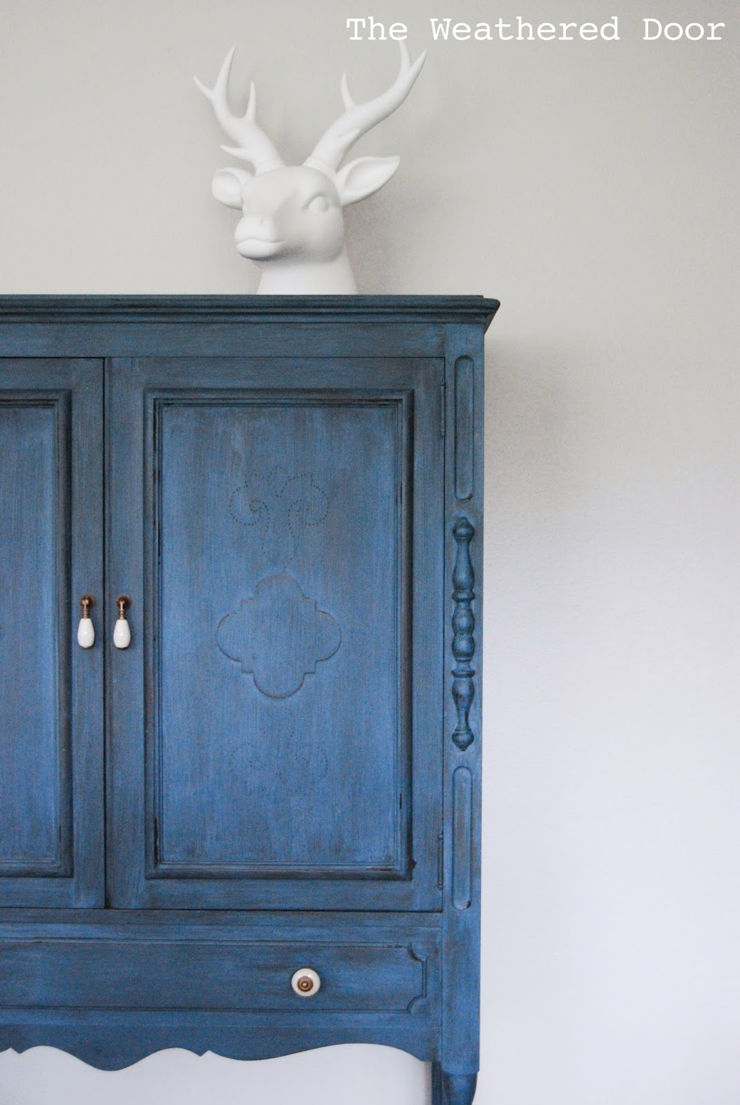 A Deep Blue Milk Paint Cabinet The Weathered Door
