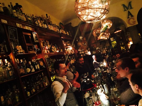Mag Bar night at the bar interior for aperitivo in Navigli Milan