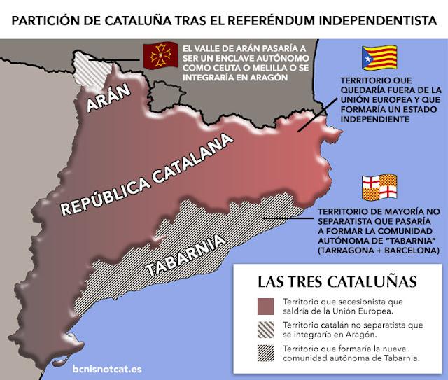 Mapa de Cataluña tras la independencia. Tabarnia incluida.