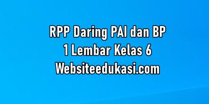 Rpp Daring Pai 1 Lembar Kelas 6 Tahun 2020 2021 Websiteedukasi Com